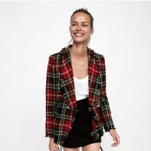 Zara Red Plaid Tweed Frayed Double Breasted Blazer